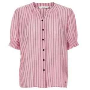 Numph Aphra Striped Short Sleeve Shirt in Pink